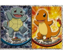 2 cards Pokémon Topps Charmander - Squirtle di Aa.vv.,  1999,  Topps