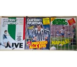 3 riviste Guerin Sportivo 1986: Napolè - Processo alla Juve - Juve - L