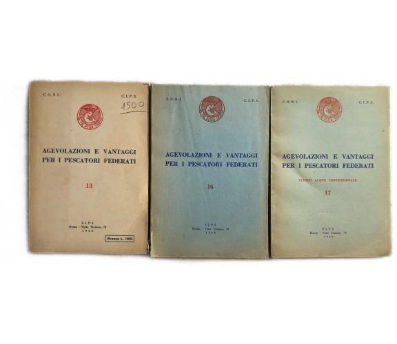 Agevolazioni e vantaggi per i pescatori federati 13-16-17 di Coni,  1965,  Fips