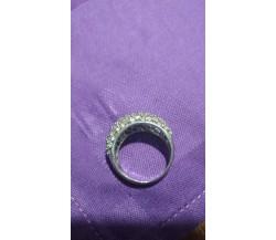 Anello vintage in argento 925 con zirconi, 6,30 gr.