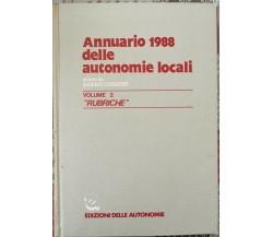 Annuario 1988 delle autonomie locali  di Sabino Cassese,  1988,  - ER