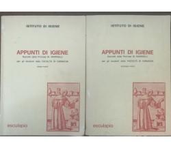Appunti di igiene(prima e senconda parte) - Marinelli - Esculapio,1974 - A