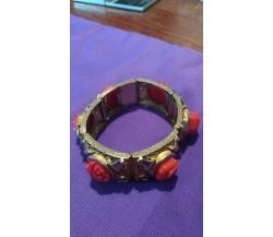 Bracciale vintage artigianale argento con doratura, corallo rosa incastonato, 18