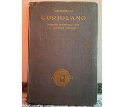 Coriolano di Shakespeare William,  1924,  Mondadori-F