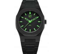 D1 Milano orologio Neon nero lancette verdi