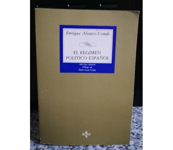 El Regimen politico Espanol 2° ediction di Enrique Alvarez Conde,1985,Tecnos -F