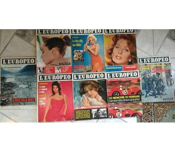 L'Europeo - lotto 8 riviste anni '60 - Marilyn Monroe, Brigitte Bardot, Loren...
