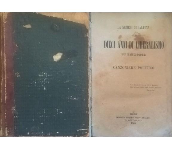 La nemesi subalpina: ossia dieci anni di liberalismo in Piemonte, (1858) Ca
