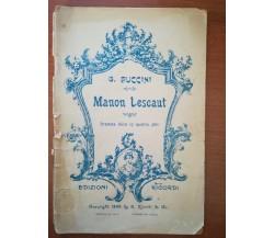 Manon Lescaut - G. Puccini - Ricordi  - 1893 M
