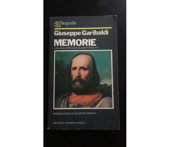 Memorie - Giuseppe Garibaldi,  1982,  Biblioteca Universale Rizzoli  - P