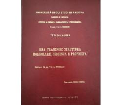 RNA Transfert: struttura molecolare, sequenza e proprietà (1977) - ER