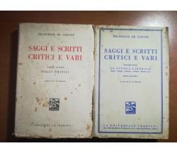 Saggi e scritti critici e vari - F. De Sanctis - Barion - 1936 - M