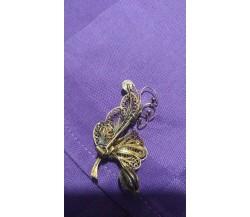 Spilla argento dorato in filigrana vintage, 4,30 gr.