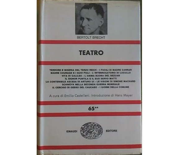 Teatro (Volume secondo) - Bertolt Brecht - Copertina rigida - Einaudi, 1970
