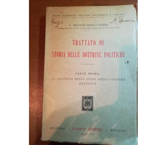 Trattato di storia delle dottrine politiche - V.B. Brocchieri -Hoepli - 1934 - M